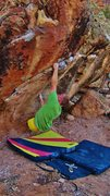 Rock Climbing Photo: Sticking the first move of Lacing Skittles.
