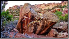 Rock Climbing Photo: Boonies Boulder overview. Sea Legs (V3) is in purp...