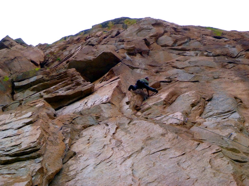 Rock Climbing Photo: Eric approaching the high crux on the FA