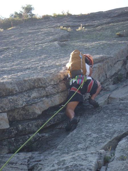 Rock Climbing Photo: Knapsack Crack @ Lover's Leap in Tahoe. My fir...