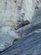 Rock Climbing Photo: Set up the first belay below the orange lichen, be...