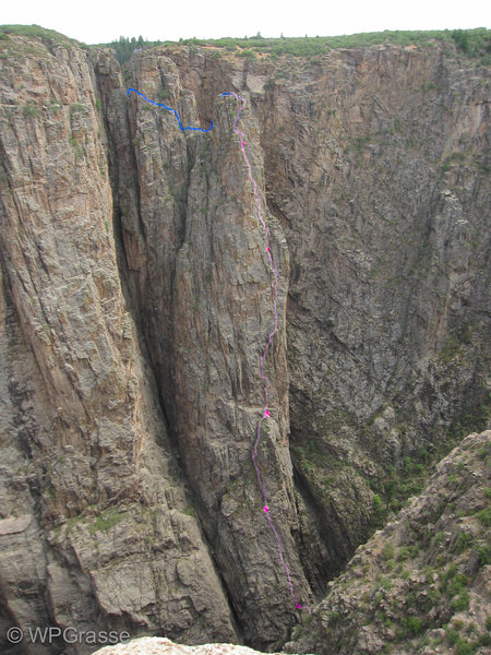 Rock Climbing Photo: Route with belays.