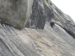 Rock Climbing Photo: Engaging the so called crux. The move goes down fr...