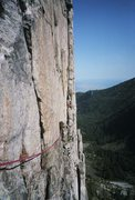 Rock Climbing Photo: Looking back across the 5.6 pitch 5 traverse. My M...