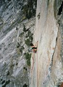 Rock Climbing Photo: Fran Bagenal preparing to lower out from the pendu...