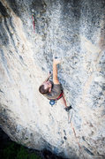 Rock Climbing Photo: Pawel reaching from a bad left hand pinch to a wor...
