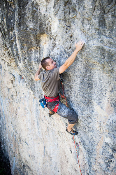 Rock Climbing Photo: Pawel using a heinous sloper pinch on the last har...