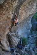 Rock Climbing Photo: Big pocket pulls leading into the second crux.  Th...