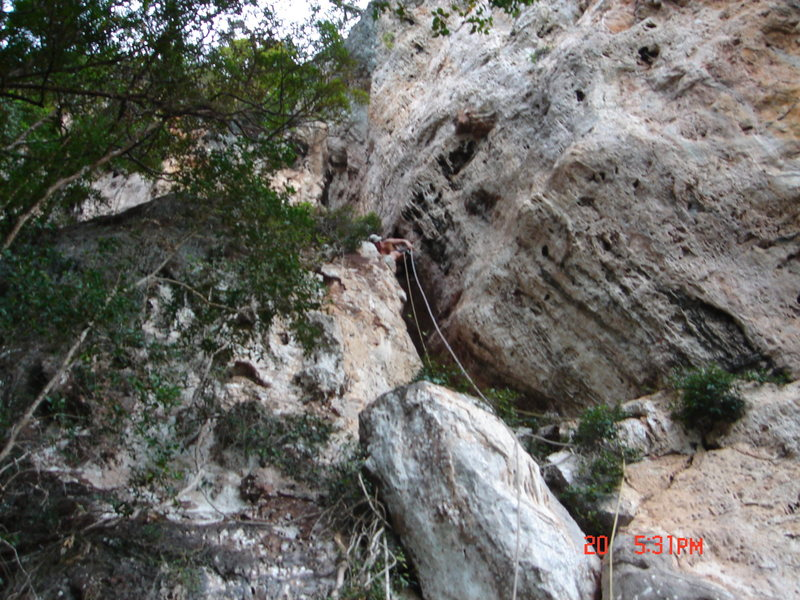 Rock Climbing Photo: Drew on the 1st ascent of The Watchtower via &quot...