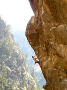 Rock Climbing Photo: Getting to the lip of Hanging Judge. Really great ...