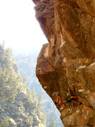 Rock Climbing Photo: Making a roof clip on Great Escape.