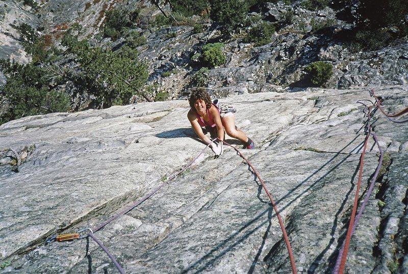 Fran Bagenal climbing pitch 1 of In Memoriam.