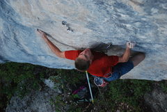 Rock Climbing Photo: Peder on the low crux of Oro y Plata