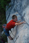 Rock Climbing Photo: Peder in the middle of Oro y Plata