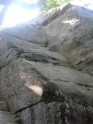 Rock Climbing Photo: New route? 5 bolts between middle crack and right ...