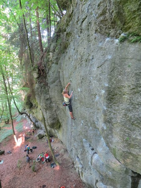 Rock Climbing Photo: A nice view of nearly the whole crag. This climber...