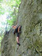 Rock Climbing Photo: Fanny starting into the crux.