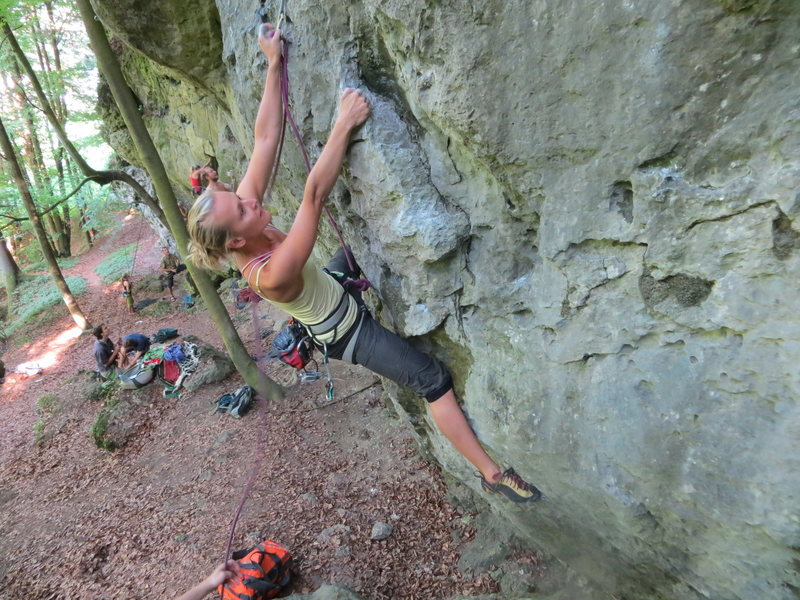 Rock Climbing Photo: Fanny clipping the first bolt on Dr. Snape.