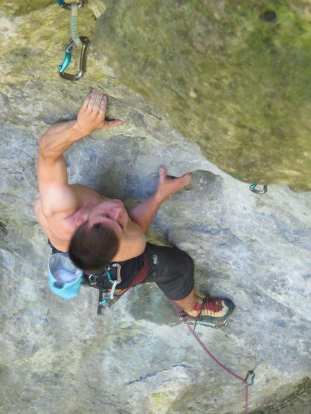 Rock Climbing Photo: Jonas approaching the 3rd bolt of Dumbledore.