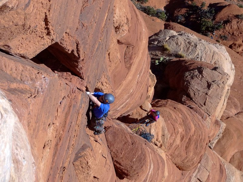 Leading up the sixth pitch. January 2013.