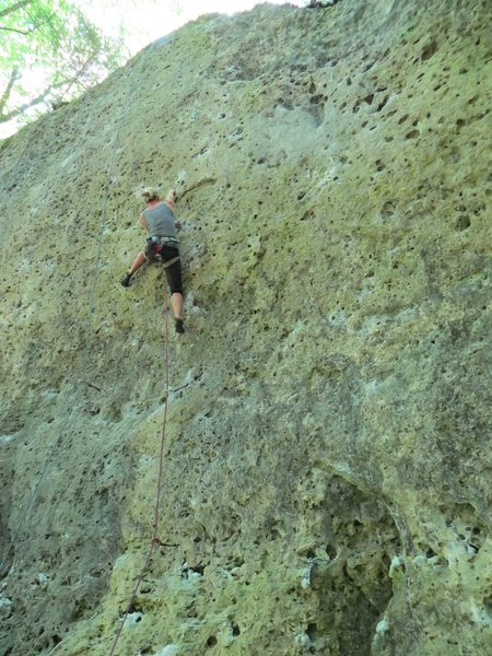 Rock Climbing Photo: Fanny at the first bolt in Testpilot