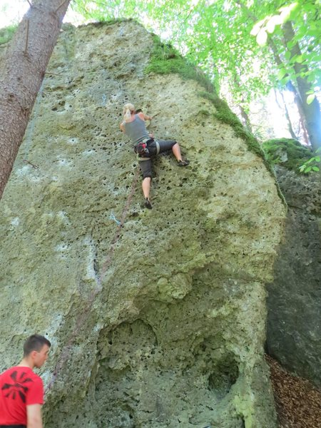 Rock Climbing Photo: Fanny through the hard part of Last but not Least