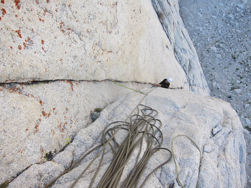 Rock Climbing Photo: Kyle laybacks up the double cracks on P1