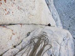 Rock Climbing Photo: Kyle laybacks up the double cracks on P1