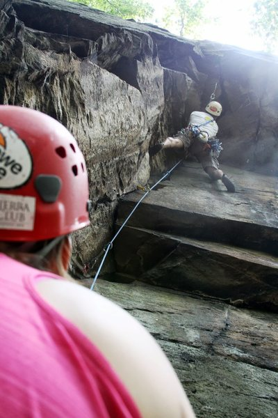 Rags to Riches from behind the belayer