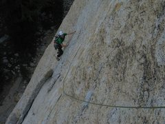 Rock Climbing Photo: The crux of the first pitch