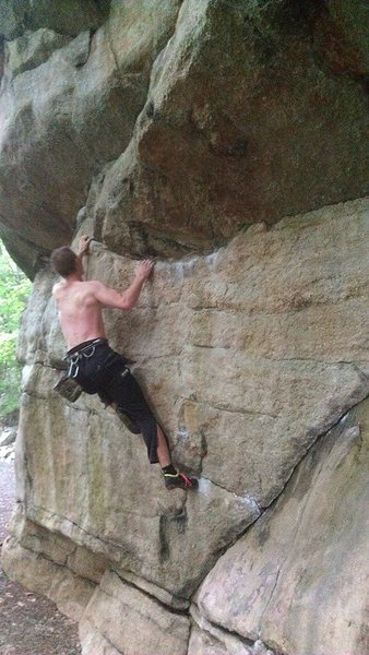 Rock Climbing Photo: Bouldering the Great roof at the gunks