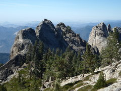 Rock Climbing Photo: The short, east faces of the back towers.  They pl...
