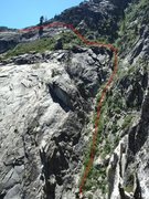 Rock Climbing Photo: Approximate route back to the top of the fin.