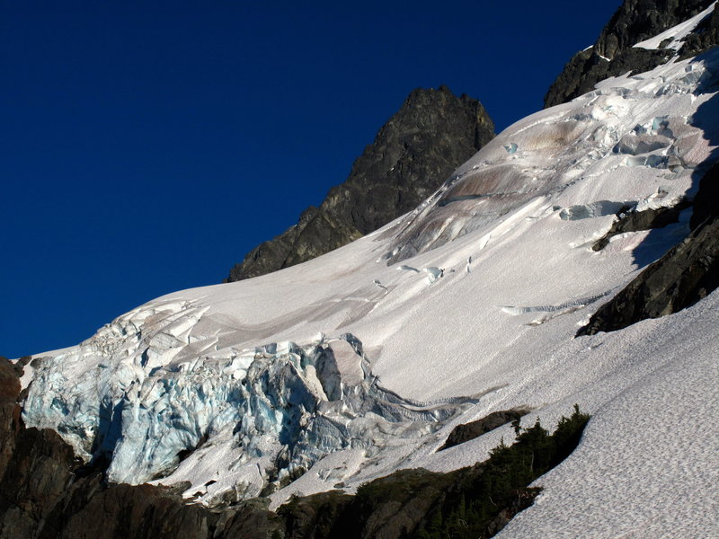 The low-angle base of Shuksan's North Face and hanging glacier as seen from the bivy