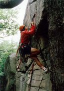 Rock Climbing Photo: Rich Searle seconding on the FA of Can the Jingo 7...