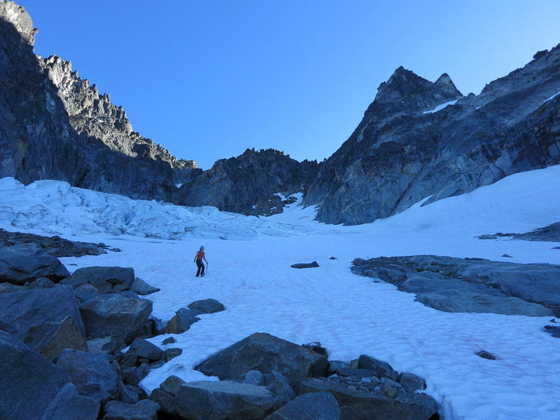 Rock Climbing Photo: Near the bottom of the glacier. Slabs and streams ...