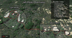 Rock Climbing Photo: Topo of boulder layout and how to get to Jah Hole....