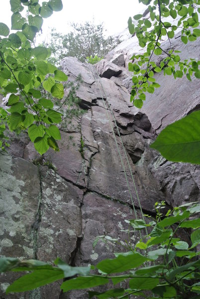 Rich Bechler Memorial Route. 5.10a/b found at the lower left base of Lost Face formation.  Why has no one ever climbed and reported this?