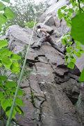 Rock Climbing Photo: Jon J. stems while negotiating the upper cruxy sec...