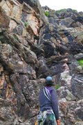 Rock Climbing Photo: At the base of the route looking at p1.