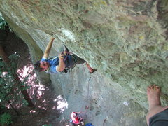 Rock Climbing Photo: Me clipping the 3rd bolt, with the last good hold ...