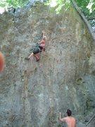 """Rock Climbing Photo: Fanny reaching for the """"pinch"""" in Aragor..."""