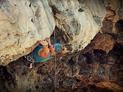 Rock Climbing Photo: Angell, working the first bulge on the Rattler. (N...