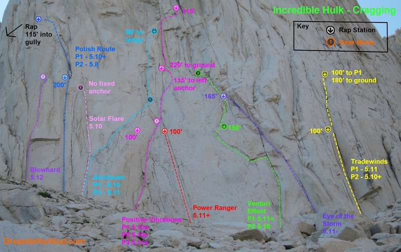 A cragging guide to the first few pitches of routes on the left side of the Hulk.