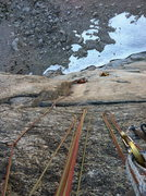 Rock Climbing Photo: Looking down the first crux.