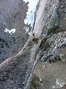 Rock Climbing Photo: The pitch to M&M ledge.
