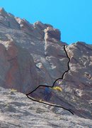 Rock Climbing Photo: Pitch 3 and 4 line of ascent