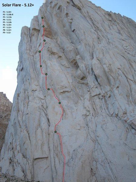 Rock Climbing Photo: Solar Flare photo topo.  (work in progress)