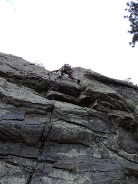Dave mounts the crux.