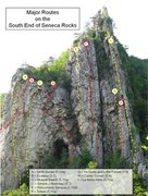 Rock Climbing Photo: Main South End Routes.  I ginned this up to help f...